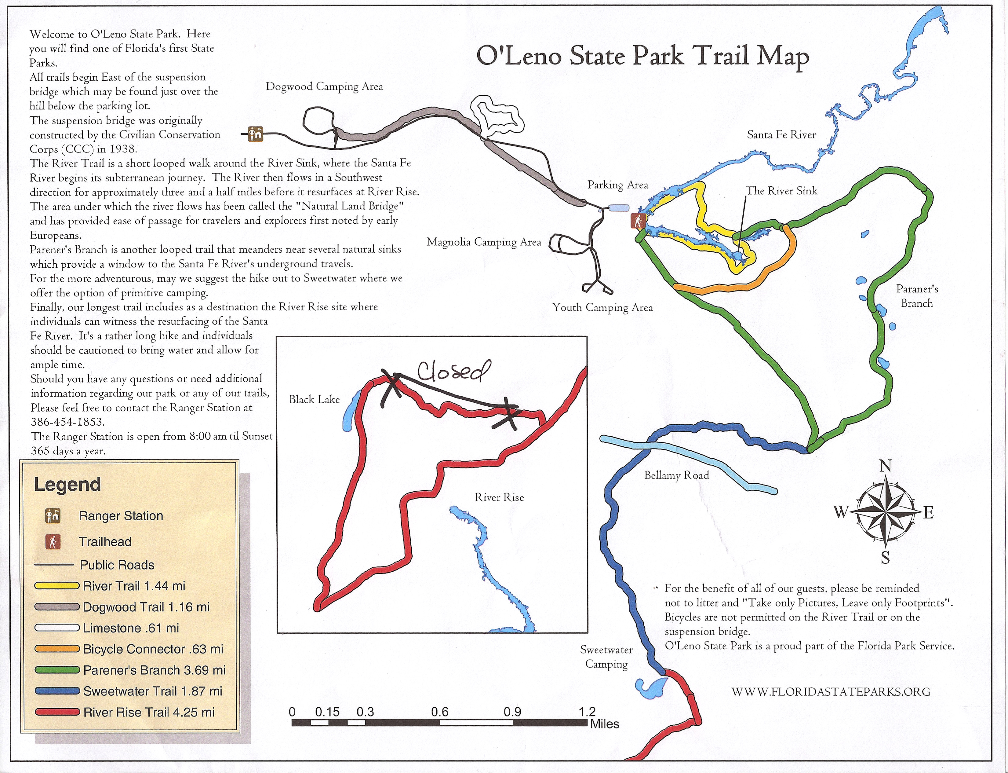 OLeno State Park Map  Adventure Gether - Florida map state parks